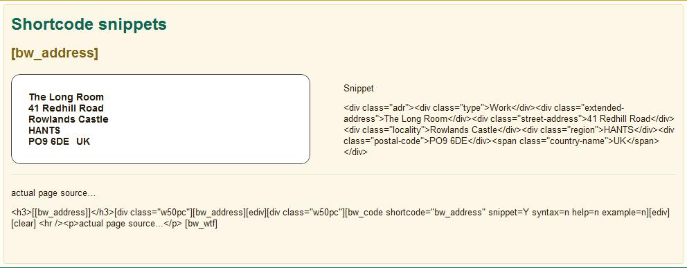 shortcode snippets – [bw_address]