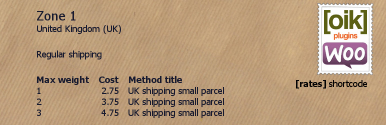 Weight zone shipping rates shortcode