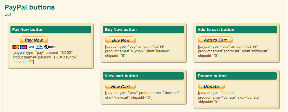 oik PayPal buttons and their shortcodes